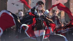 Rating: Safe Score: 93 Tags: anthropomorphism azur_lane bismarck_(azur_lane) blonde_hair blue_eyes cape glasses hat red_eyes swd3e2 tagme_(character) thighhighs uniform white_hair User: Nepcoheart