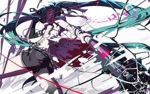 Rating: Safe Score: 50 Tags: ass bai_yemeng bandaid bikini_top blue_hair breasts chain elbow_gloves gloves hatsune_miku long_hair microphone pink_eyes shorts signed tattoo torn_clothes twintails vocaloid weapon User: RyuZU
