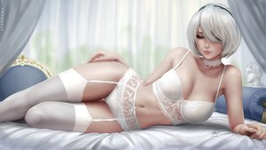 Rating: Safe Score: 138 Tags: bed blue_eyes bra breasts choker cleavage garter_belt headband nier nier:_automata panties realistic sciamano240 short_hair signed stockings underwear watermark white_hair yorha_unit_no._2_type_b User: otaku_emmy