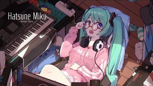 Rating: Safe Score: 73 Tags: aqua_hair blue_eyes computer glasses hatsune_miku headphones hoodie instrument long_hair piano twintails vocaloid watermark zhayin-san User: luckyluna