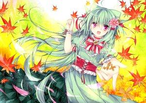 Rating: Safe Score: 63 Tags: anthropomorphism autumn bow dress green_hair homare leaves pink_eyes pokemon User: opai