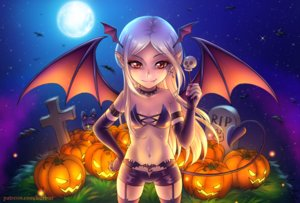 Rating: Safe Score: 32 Tags: animal bat bikini_top blush brown_eyes burbur collar cross demon fang garter_belt grass halloween long_hair moon navel night original pointed_ears pumpkin shorts sky stars stockings succubus tail watermark white_hair wings User: RyuZU