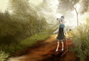 Rating: Safe Score: 36 Tags: akaikitsune animal animal_ears dress forest grass mouse mousegirl nazrin red_eyes short_hair socks tail touhou tree white_hair User: opai