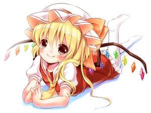 Rating: Safe Score: 51 Tags: blonde_hair dress fang flandre_scarlet hat irori red_eyes touhou vampire white wings User: opai