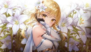 Rating: Safe Score: 101 Tags: armor blonde_hair blush flowers genshin_impact gloves lunacle tagme_(character) yellow_eyes User: BattlequeenYume