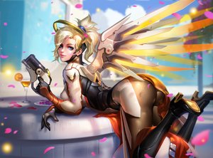 Rating: Safe Score: 172 Tags: aqua_eyes ass blonde_hair bodysuit boots drink gun liang_xing mercy_(overwatch) overwatch petals realistic weapon wings User: RyuZU
