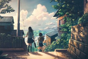 Rating: Safe Score: 68 Tags: 2girls building city clouds kneehighs k_ryo original scenic seifuku skirt sky User: RyuZU