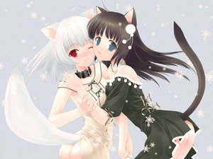 Rating: Safe Score: 183 Tags: 2girls animal_ears ass black_hair blue_eyes catgirl collar dress foxgirl red_eyes ribbons snow tail third-party_edit touto_seiro white_hair User: kisumi