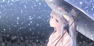 Rating: Safe Score: 87 Tags: blue_eyes bow close gray_hair hatsune_miku japanese_clothes kimono long_hair niuy snow twintails umbrella vocaloid yuki_miku User: FormX