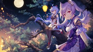 Rating: Safe Score: 129 Tags: 2girls bell blue_hair ganyu_(genshin_impact) genshin_impact horns keqing_(genshin_impact) long_hair panpanmeiyou_hp pantyhose purple_eyes purple_hair tree twintails User: BattlequeenYume
