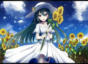 Rating: Safe Score: 83 Tags: blush clouds dress flowers green_hair hat heavens_thunder_(byakuya-part2) long_hair original sky summer summer_dress sunflower water User: RyuZU
