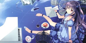 Rating: Safe Score: 36 Tags: cage choker clouds cropped dress drink instrument long_hair natsume_eri original paper piano purple_hair reflection scan sky User: BattlequeenYume