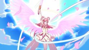 Rating: Safe Score: 22 Tags: bow clouds cure_dream dress jabara_tornado long_hair petals pink_eyes pink_hair precure sky wings yes!_precure_5 yes!_precure_5_gogo! yumehara_nozomi User: RyuZU