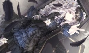 Rating: Safe Score: 83 Tags: apple228 cross dress feathers flowers goth-loli gray_eyes lolita_fashion original white_hair User: BattlequeenYume
