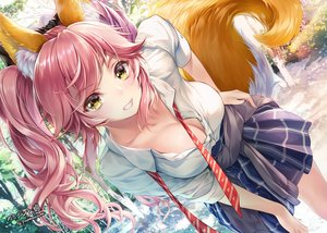 Rating: Safe Score: 202 Tags: animal_ears breasts cleavage fate/grand_order fate_(series) foxgirl jpeg_artifacts long_hair pink_hair seifuku shirt skirt tail tamamo_no_mae_(fate) tie tree twintails watermark yellow_eyes youqiniang User: BattlequeenYume