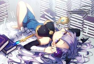 Rating: Safe Score: 29 Tags: barefoot book breasts dress long_hair masaru.jp purple_eyes purple_hair scan staff User: BattlequeenYume