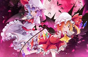 Rating: Safe Score: 25 Tags: 2girls animal bat blonde_hair building dress flandre_scarlet long_hair moon night pointed_ears purple_hair red_eyes remilia_scarlet ribbons short_hair skirt sky tobi_(nekomata_homara) touhou tree vampire wings User: BattlequeenYume