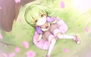 Rating: Safe Score: 41 Tags: cape cherry_blossoms flowers grass green_hair kankokoa kneehighs loli long_hair original petals skirt yellow_eyes User: otaku_emmy
