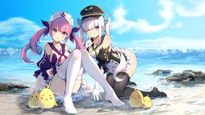 Rating: Safe Score: 159 Tags: 2girls akinatsu_meguru animal aqua_eyes azur_lane beach bird blush braids clouds crossover dress elbow_gloves gloves hat headband hololive kagura_mea kagura_mea_channel long_hair manjuu_(azur_lane) minato_aqua purple_hair sky thighhighs twintails water white_hair wink User: BattlequeenYume