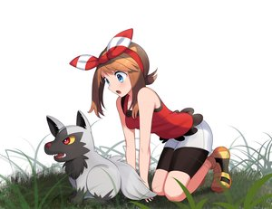 Rating: Safe Score: 30 Tags: aqua_eyes bike_shorts brown_hair grass haruka_(pokemon) headband pokemon poochyena shorts white yuihiko User: gnarf1975