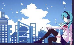 Rating: Safe Score: 55 Tags: aisuuwan animal aqua_hair bird blue building city clouds hatsune_miku headphones long_hair seifuku skirt sky thighhighs twintails vocaloid zettai_ryouiki User: RyuZU