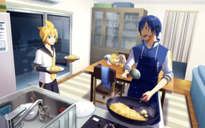 Rating: Safe Score: 9 Tags: aliasing food kagamine_len kagamine_rin kaito male nokuhashi sleeping vocaloid User: mattiasc02