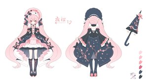 Rating: Safe Score: 42 Tags: boots bow dress goth-loli hatsune_miku headdress kneehighs lolita_fashion long_hair nishina_hima pink_eyes pink_hair polychromatic sakura_miku twintails umbrella vocaloid white User: otaku_emmy
