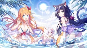 Rating: Safe Score: 103 Tags: animal_ears aqua_eyes ass barefoot bikini breasts catgirl cleavage clouds flat_chest green_eyes headband karyl kokkoro kurisu_tina long_hair orange_hair pecorine pink_eyes princess_connect! purple_hair see_through shorts sky sunglasses swimsuit tail twintails water white_hair wristwear User: BattlequeenYume