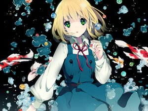 Rating: Safe Score: 82 Tags: animal blonde_hair bubbles fish green_eyes ribbons rugo school_uniform short_hair tamako_market tokiwa_midori water User: C4R10Z123GT