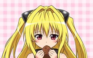 Rating: Safe Score: 54 Tags: blonde_hair food golden_darkness pink red_eyes taiyaki to_love_ru User: korokun