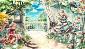 Rating: Safe Score: 89 Tags: alice_in_wonderland animal animal_ears apple bicolored_eyes blonde_hair book bow building butterfly cake cat cheshire_cat clouds crown dress drink flowers food fruit grass hat headband headdress lolita_fashion long_hair male mirror original pantyhose petals rabbit red_eyes rose short_hair sky tree water white_rabbit yumeichigo_alice User: FormX