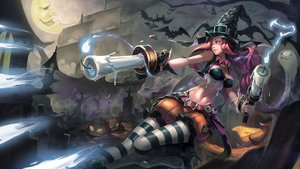 Rating: Safe Score: 176 Tags: animal bat cross halloween hat iorlvm league_of_legends long_hair miss_fortune moon navel pantyhose pumpkin red_hair shorts wings witch_hat User: Flandre93