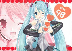 Rating: Safe Score: 23 Tags: blue_eyes blue_hair hapido hatsune_miku heart long_hair microphone scan skirt tie twintails vocaloid wink zoom_layer User: 秀悟