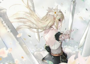 Rating: Safe Score: 51 Tags: armor blonde_hair epic7 flowers green_eyes iseria_(epic7) long_hair pointed_ears sword vardan weapon User: Poharan