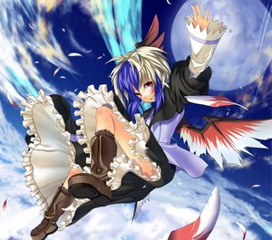 Rating: Safe Score: 40 Tags: blue_hair boots dress feathers gray_hair horns kaiho moon red_eyes short_hair sky tokiko touhou wings User: konstargirl