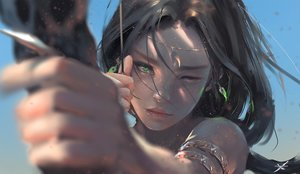 Rating: Safe Score: 720 Tags: black_hair bow_(weapon) close ghostblade green_eyes logo long_hair princess_aeolian realistic watermark weapon wink wlop User: BattlequeenYume