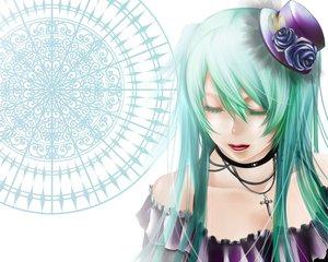 Rating: Safe Score: 33 Tags: aqua_hair hat hatsune_miku necklace vocaloid User: HawthorneKitty