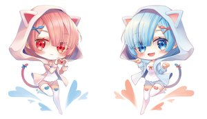 Rating: Safe Score: 20 Tags: 2girls animal_ears aqua_eyes aqua_hair catgirl chibi hoodie jii_dayday pink_hair ram_(re:zero) red_eyes rem_(re:zero) re:zero_kara_hajimeru_isekai_seikatsu short_hair tail thighhighs twins watermark white zettai_ryouiki User: Dreista
