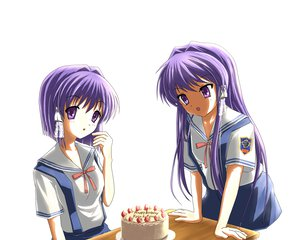 Rating: Safe Score: 30 Tags: 2girls cake clannad food fruit fujibayashi_kyou fujibayashi_ryou purple_eyes purple_hair school_uniform strawberry twins white User: HawthorneKitty