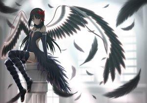 Rating: Safe Score: 199 Tags: akemi_homura akuma_homura black_hair bow dress elbow_gloves feathers gloves headband long_hair mahou_shoujo_madoka_magica mahou_shoujo_madoka_magica_movie pink_eyes siraha thighhighs wings User: Flandre93
