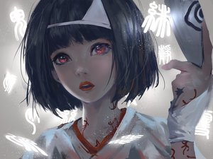 Rating: Safe Score: 50 Tags: black_hair headdress japanese_clothes kimono noragami nora_(noragami) red_eyes short_hair wlop User: Flandre93