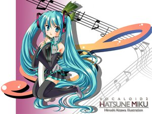 Rating: Safe Score: 42 Tags: aqua_eyes aqua_hair hatsune_miku leek long_hair music thighhighs twintails vocaloid User: Oyashiro-sama