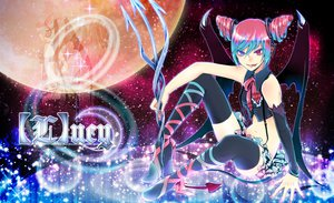 Rating: Safe Score: 72 Tags: aqua_hair bicolored_eyes hatsune_miku [l]ucy_(vocaloid) momopanda moon pink_hair stars tail thighhighs vocaloid weapon wings User: STORM