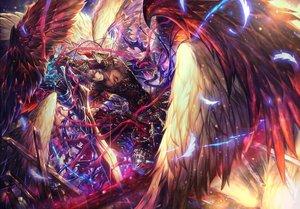 Rating: Safe Score: 66 Tags: all_male granblue_fantasy gray_hair lucio_(granblue_fantasy) male ribbons shadowverse shigaraki_(strobe_blue) shingeki_no_bahamut short_hair sword weapon wings User: mattiasc02