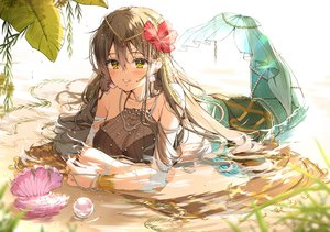 Rating: Safe Score: 32 Tags: blush breasts brown_hair cleavage headdress h_shai leaves long_hair mermaid necklace original see_through torn_clothes water wristwear yellow_eyes User: otaku_emmy
