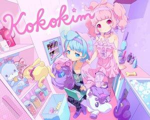 Rating: Safe Score: 92 Tags: 2girls blue_eyes blue_hair bunny choker computer drink food headband ice_cream neki_(wakiko) original pink_hair red_eyes short_hair twintails User: FormX