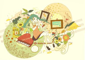 Rating: Safe Score: 21 Tags: apron cake chiho_(buchiko) clouds flowers food hatsune_miku instrument kneehighs leaves piano twintails vocaloid white User: HawthorneKitty