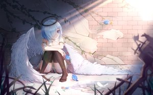 Rating: Safe Score: 76 Tags: angel halo original qian_ze_chiz signed wings User: BattlequeenYume