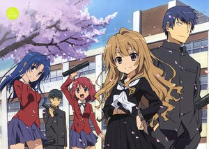 Rating: Safe Score: 122 Tags: aisaka_taiga blue_hair hiyamizu_yukie kawashima_ami kushieda_minori petals scan school_uniform takasu_ryuuji toradora User: Avenger