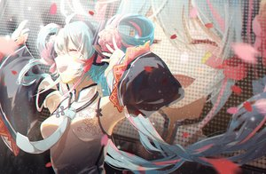 Rating: Safe Score: 38 Tags: aqua_hair breasts chinese_clothes chinese_dress flowers hatsune_miku hiro_chikyuujin long_hair petals tie twintails vocaloid User: RyuZU